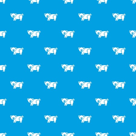 Cute pig pattern vector seamless blue repeat for any use