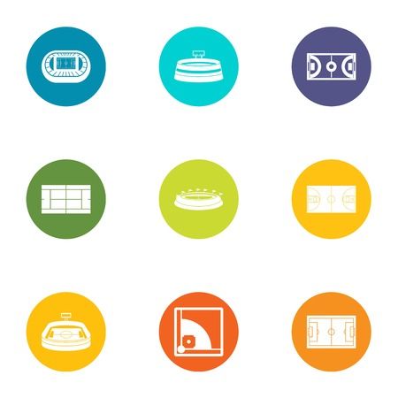 Court icons set. Flat set of 9 court vector icons for web isolated on white background