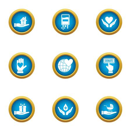 Rescue children icons set. Flat set of 9 rescue children vector icons for web isolated on white background
