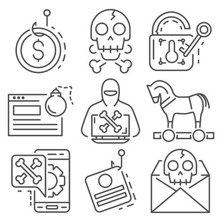 Phishing icon set. Outline set of phishing vector icons for web design isolated on white background