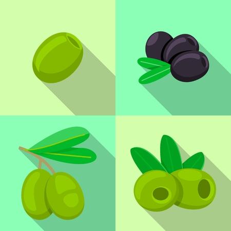 Fresh olives icon set. Flat set of fresh olives vector icons for web design