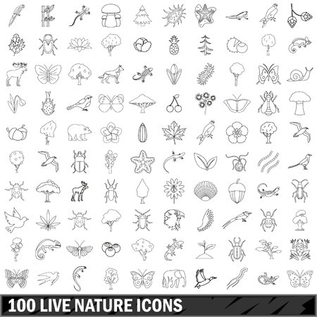 100 live nature icons set, outline style
