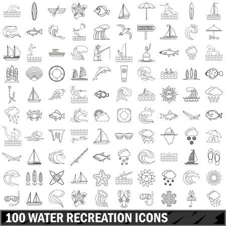 100 water recreation icons set in outline style for any design illustration