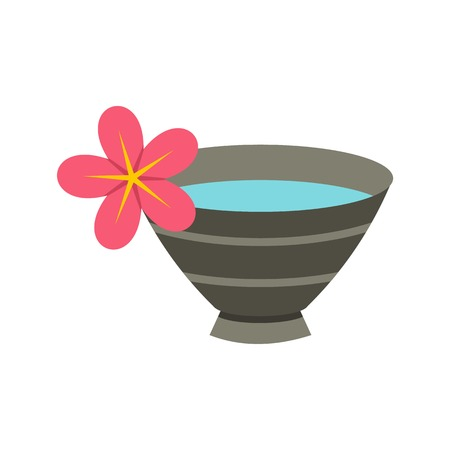 Bowl with water for spa icon in flat style isolated on white background illustration