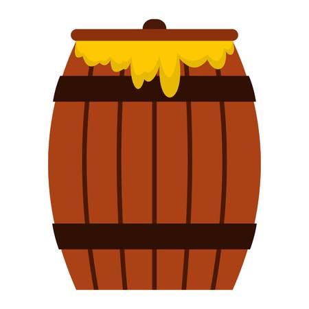 Honey keg icon in flat style isolated on white background illustration