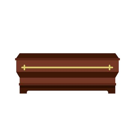 Coffin icon in flat style isolated on white background illustration
