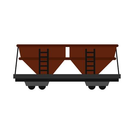 Freight railroad car icon in flat style isolated on white background illustration Stock Photo
