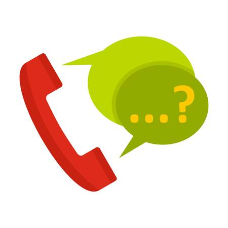 Phone with question mark speech bubble icon in flat style isolated on white background illustration