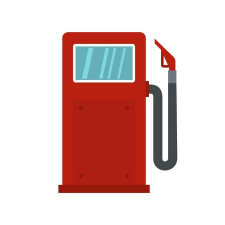 Red gasoline pump icon in flat style isolated on white background illustration