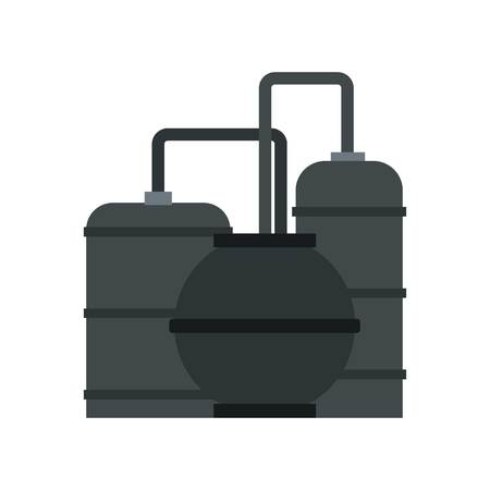 Oil refinery icon in flat style isolated on white background illustration Stock Photo