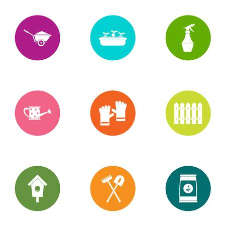 Irrigation icons set. Flat set of 9 irrigation vector icons for web isolated on white background