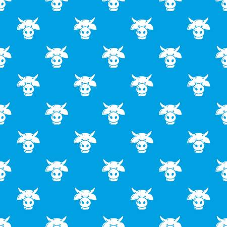 Cow head pattern vector seamless blue repeat for any use
