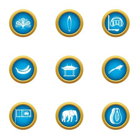 Beachfront icons set. Flat set of 9 beachfront vector icons for web isolated on white background Çizim