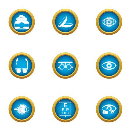 Vision control icons set, flat style