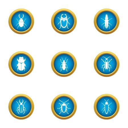 Useful bug icons set, flat style
