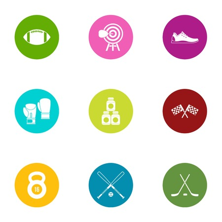 Goal icons set. Flat set of 9 goal vector icons for web isolated on white background Illusztráció