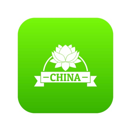 China flower icon green vector