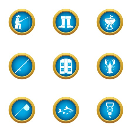 Fishing trade icons set. Flat set of 9 fishing trade vector icons for web isolated on white background