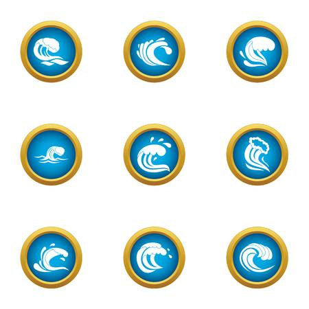 Splash icons set. Flat set of 9 splash vector icons for web isolated on white background Stock Illustratie