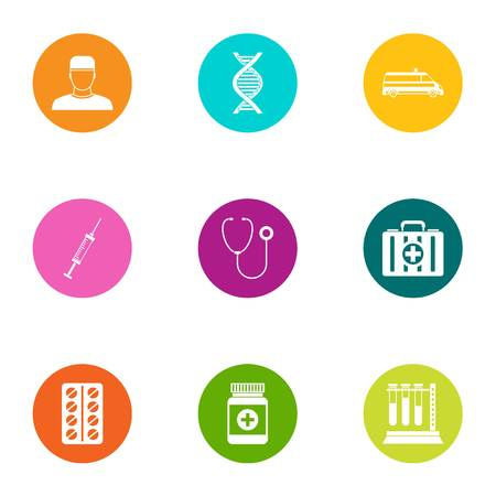 Chemical medicine icons set. Flat set of 9 chemical medicine vector icons for web isolated on white background Stock Vector - 130230499