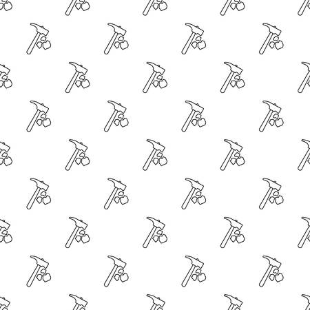 Minning hand hammer pattern vector seamless repeating for any web design