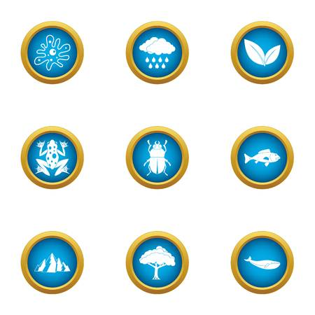 Swamp icons set. Flat set of 9 swamp vector icons for web isolated on white background