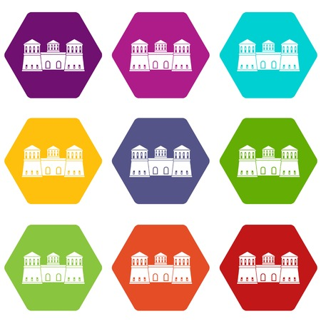 Castle icons 9 set coloful isolated on white for web Illustration