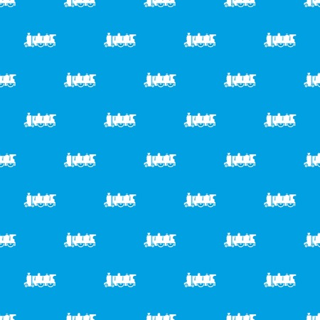 Old steam locomotive pattern vector seamless blue repeat for any use Illustration