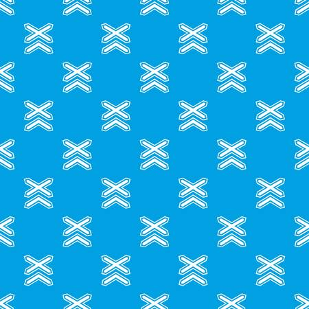 Two line non barrier railways pattern vector seamless blue repeat for any use