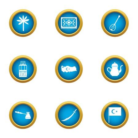 Set di icone di stereotipo turco. Set piatto di 9 icone vettoriali stereotipo turco per web isolato su priorità bassa bianca