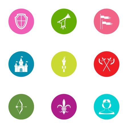 Dark age icons set. Flat set of 9 dark age vector icons for web isolated on white background
