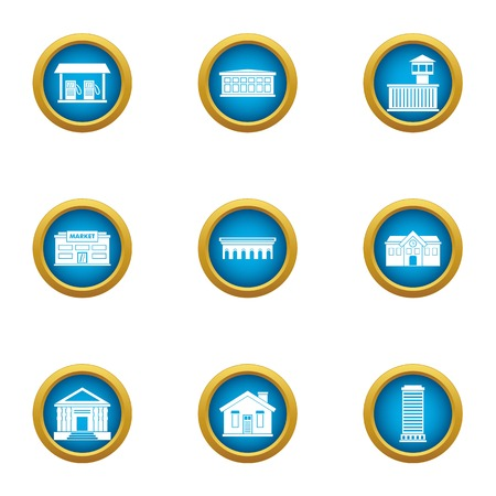 Town planning icons set. Flat set of 9 town planning vector icons for web isolated on white background Stock Illustratie