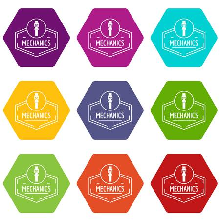 Gear mechanic icons 9 set coloful isolated on white for web Vettoriali