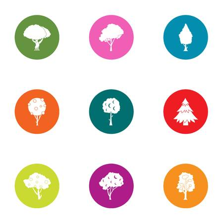 Crown tree icons set. Flat set of 9 crown tree vector icons for web isolated on white background