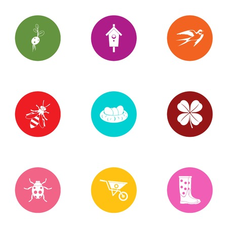 Insect garden icons set. Flat set of 9 insect garden vector icons for web isolated on white background