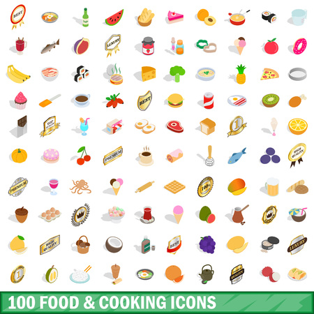100 food and cooking icons set in isometric 3d style for any design illustration