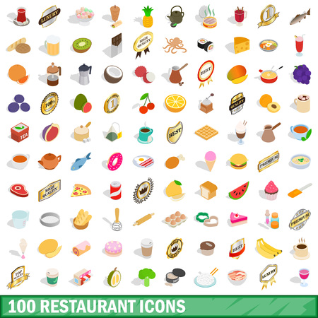 100 restaurant icons set in isometric 3d style for any design illustration Stock Photo