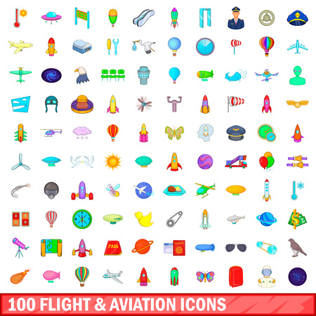 100 flight and aviation icons set in cartoon style for any design illustration