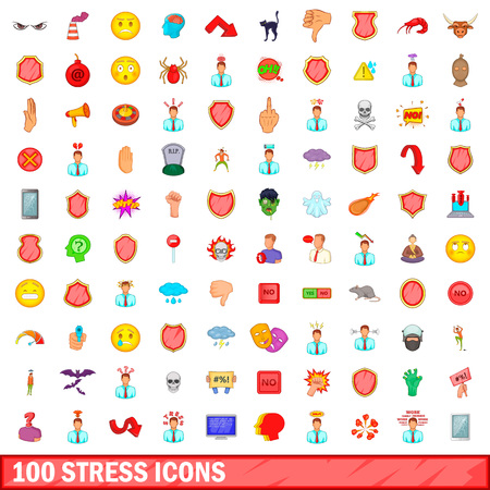 100 stress icons set in cartoon style for any design illustration