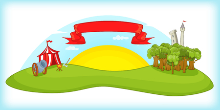Medieval horizontal banner concept. Cartoon illustration of medieval horizontal banner for web