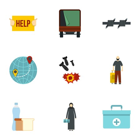 Illegal immigrants icons set. Flat illustration of 9 illegal immigrants icons for web