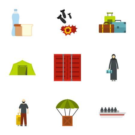 Forced immigration icons set. Flat illustration of 9 forced immigration icons for web