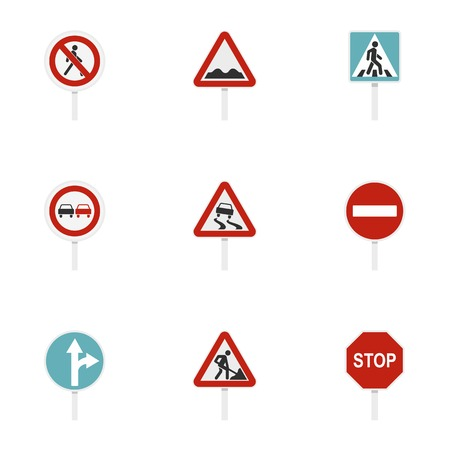 Road sign icons set. Flat illustration of 9 road sign icons for web Фото со стока