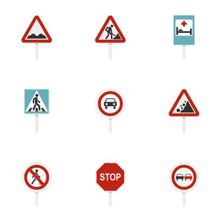 Triangular and circular traffic signs icons set. Flat illustration of 9 triangular and circular traffic signs icons for web