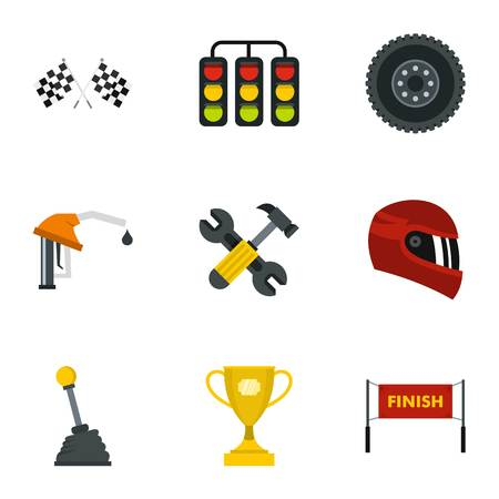 Car race icons set. Flat illustration of 9 car race icons for web Stock Photo