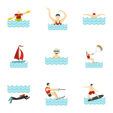 People swimming, sailing, jumping to water icons set. Flat illustration of 9 people swimming, sailing, jumping to water icons for web