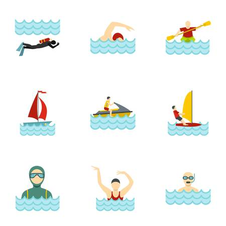 Boating and swimming icons set, flat style