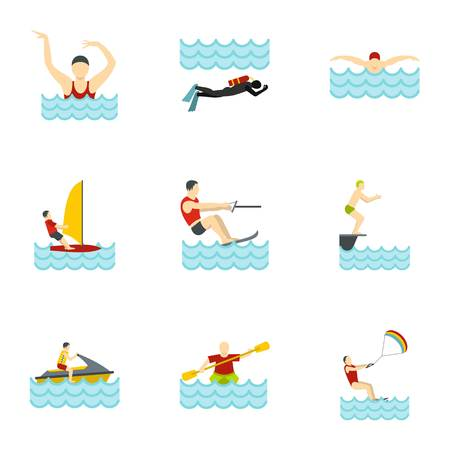 Water activities icons set, flat style