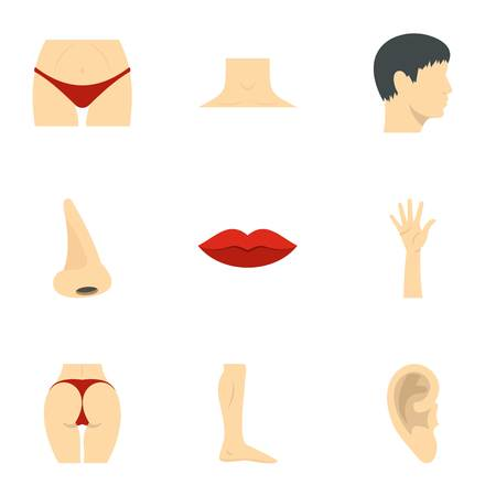 Male and female body parts icons set. Flat illustration of 9 male and female body parts icons for web Stock Photo
