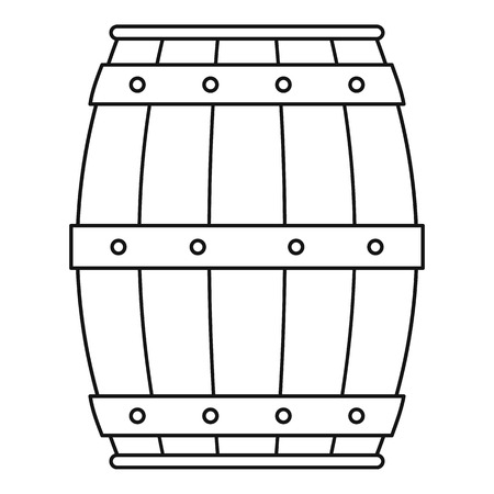Wooden barrel icon. Outline illustration of wooden barrel icon for web Stock Photo